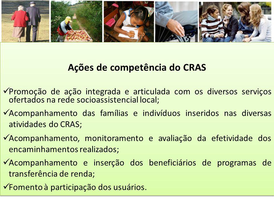 Ações de competência do CRAS