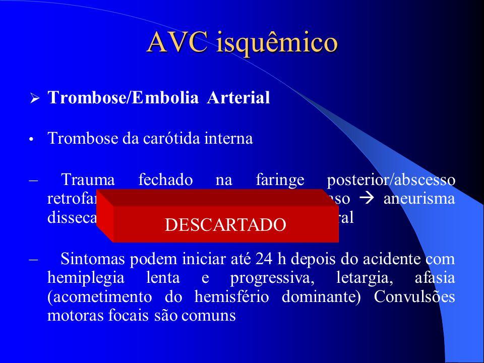 AVC isquêmico Trombose/Embolia Arterial DESCARTADO