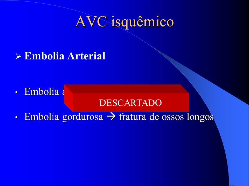 AVC isquêmico Embolia Arterial Embolia aérea  cirurgia