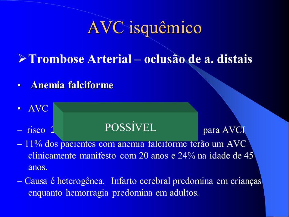 AVC isquêmico Trombose Arterial – oclusão de a. distais POSSÍVEL