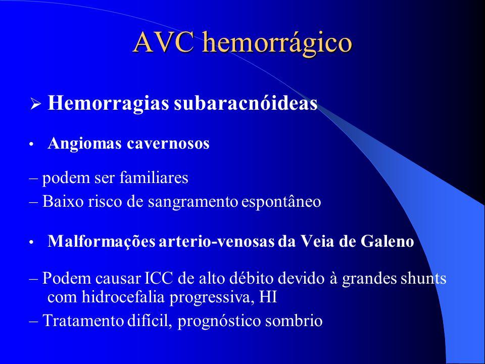 AVC hemorrágico Hemorragias subaracnóideas Angiomas cavernosos