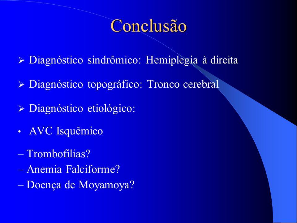 Conclusão Diagnóstico sindrômico: Hemiplegia à direita