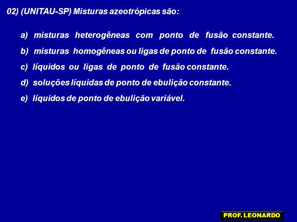 02) (UNITAU-SP) Misturas azeotrópicas são: