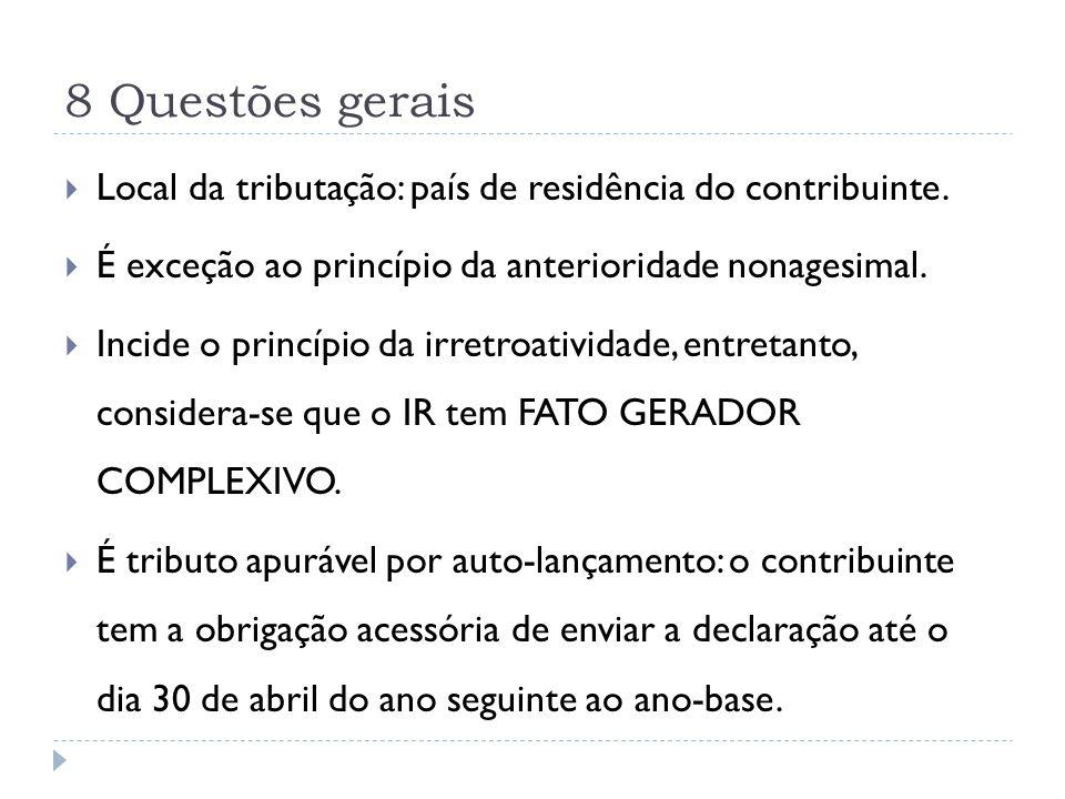8 Questões gerais Local da tributação: país de residência do contribuinte. É exceção ao princípio da anterioridade nonagesimal.