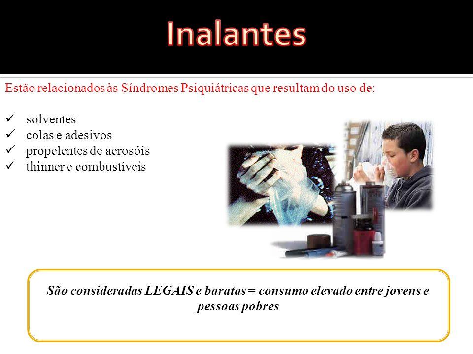 Inalantes Estão relacionados às Síndromes Psiquiátricas que resultam do uso de: solventes. colas e adesivos.