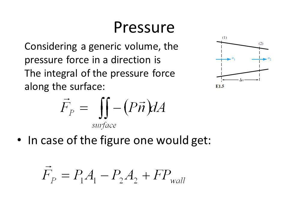 Pressure In case of the figure one would get: