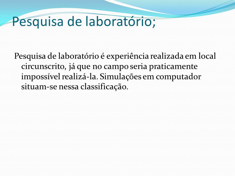 Pesquisa de laboratório;