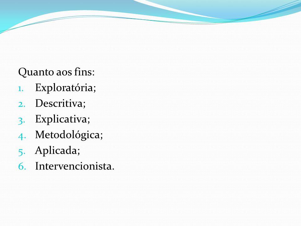 Quanto aos fins: Exploratória; Descritiva; Explicativa; Metodológica; Aplicada; Intervencionista.