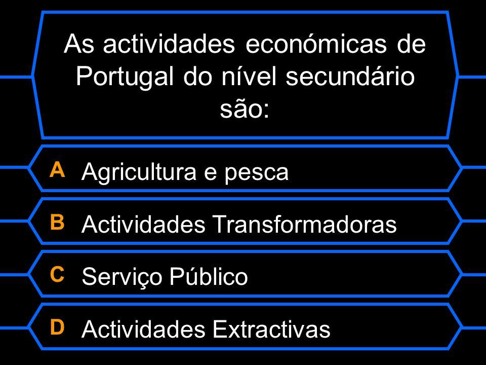 As actividades económicas de Portugal do nível secundário são: