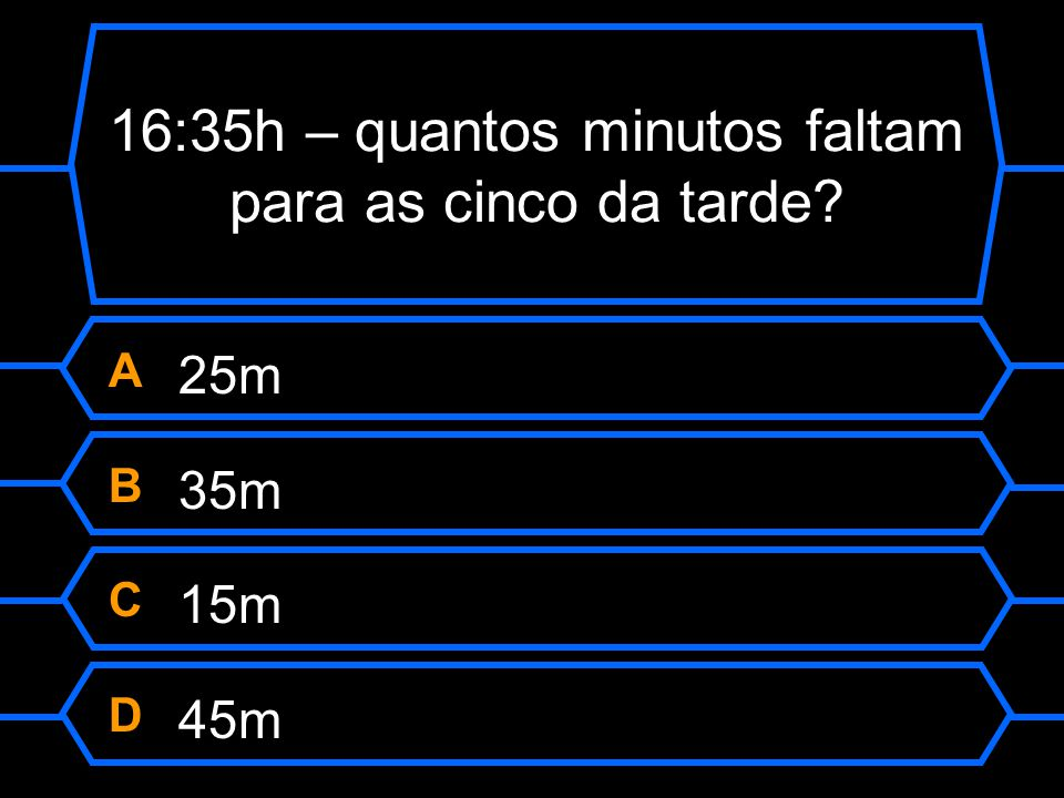 16:35h – quantos minutos faltam para as cinco da tarde