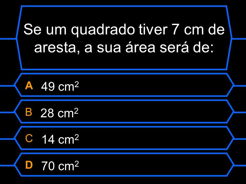 Se um quadrado tiver 7 cm de aresta, a sua área será de:
