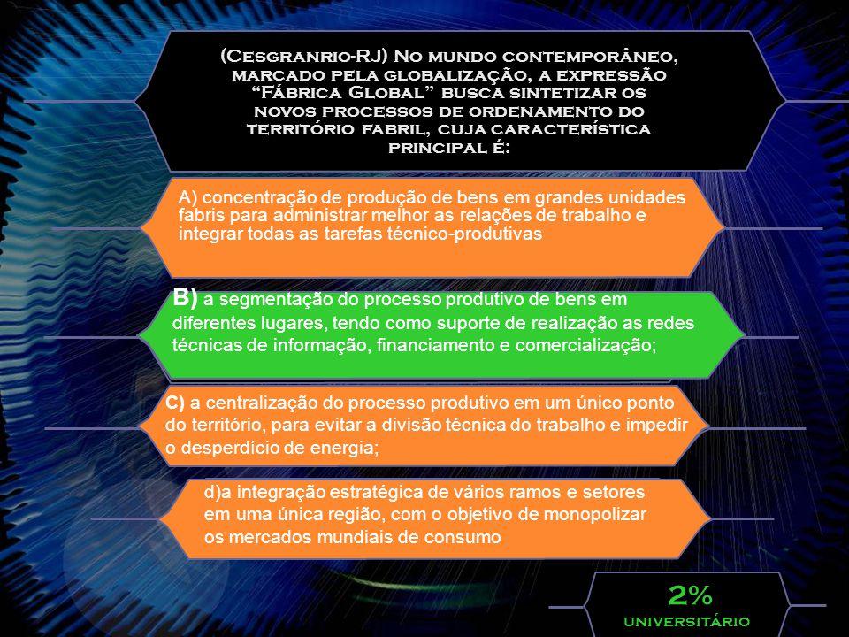 (Cesgranrio-RJ) No mundo contemporâneo, marcado pela globalização, a expressão Fábrica Global busca sintetizar os novos processos de ordenamento do território fabril, cuja característica principal é: