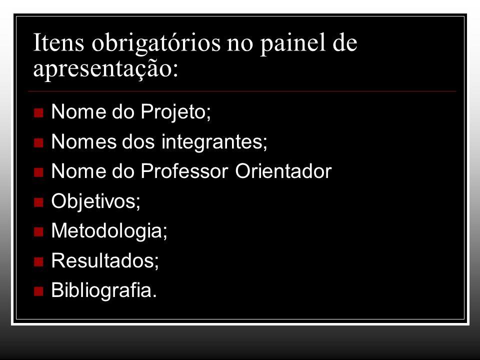 Itens obrigatórios no painel de apresentação: