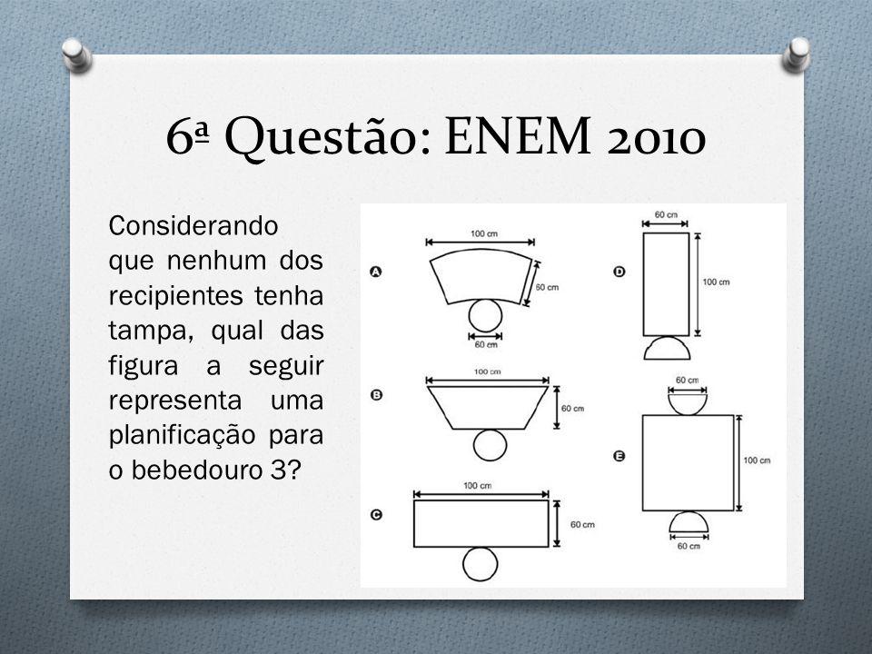 6ª Questão: ENEM 2010 Considerando que nenhum dos recipientes tenha tampa, qual das figura a seguir representa uma planificação para o bebedouro 3