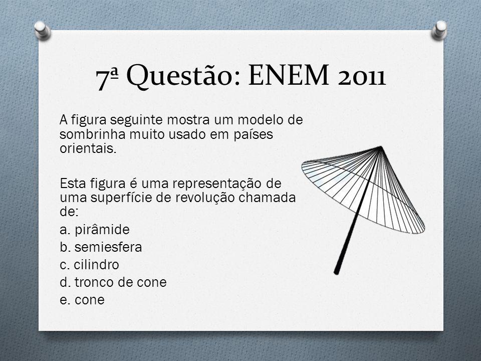7ª Questão: ENEM 2011 A figura seguinte mostra um modelo de sombrinha muito usado em países orientais.