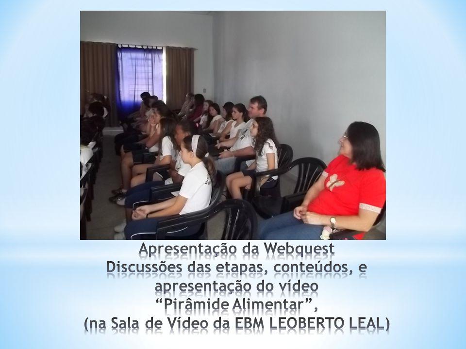 Apresentação da Webquest Discussões das etapas, conteúdos, e apresentação do vídeo Pirâmide Alimentar , (na Sala de Vídeo da EBM LEOBERTO LEAL)