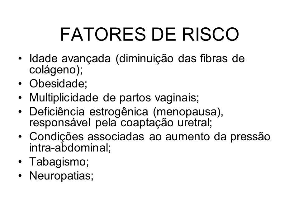 FATORES DE RISCO Idade avançada (diminuição das fibras de colágeno);