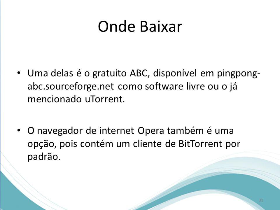 Onde Baixar Uma delas é o gratuito ABC, disponível em pingpong-abc.sourceforge.net como software livre ou o já mencionado uTorrent.