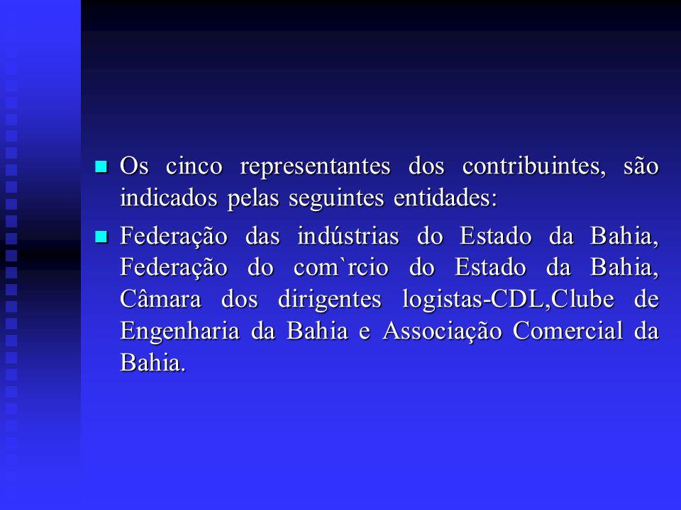 Os cinco representantes dos contribuintes, são indicados pelas seguintes entidades: