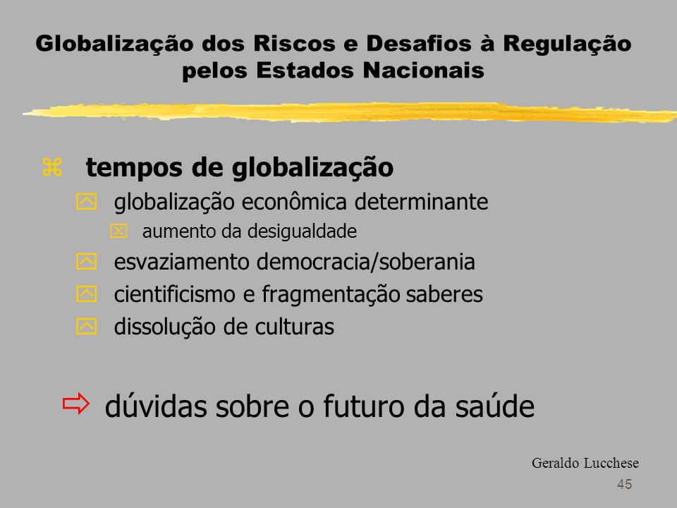 Globalização dos Riscos e Desafios à Regulação pelos Estados Nacionais