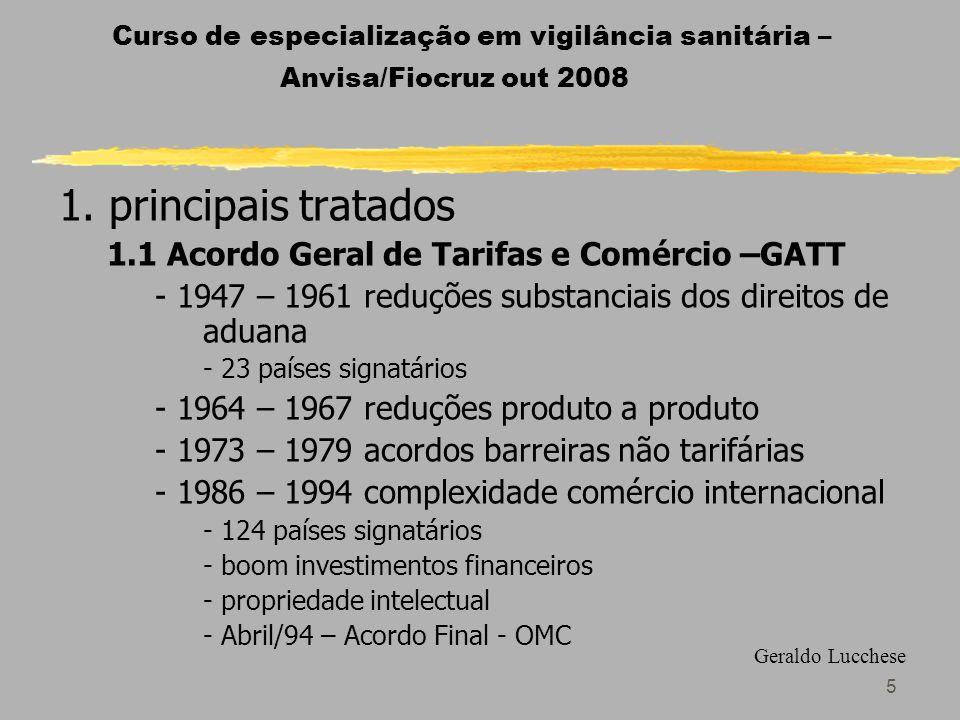 1. principais tratados 1.1 Acordo Geral de Tarifas e Comércio –GATT