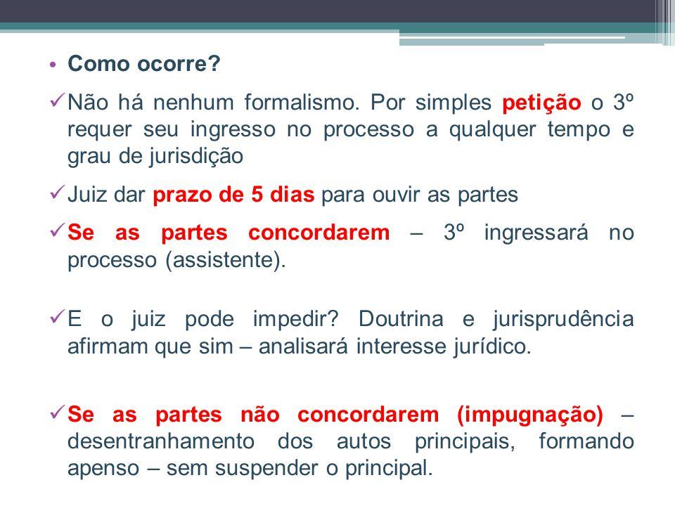 Como ocorre Não há nenhum formalismo. Por simples petição o 3º requer seu ingresso no processo a qualquer tempo e grau de jurisdição.