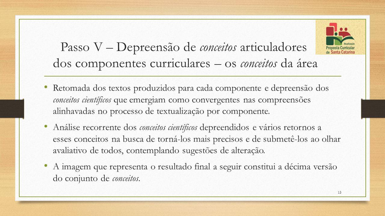 Passo V – Depreensão de conceitos articuladores dos componentes curriculares – os conceitos da área