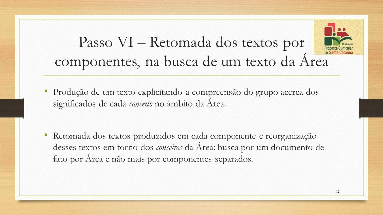 Passo VI – Retomada dos textos por componentes, na busca de um texto da Área