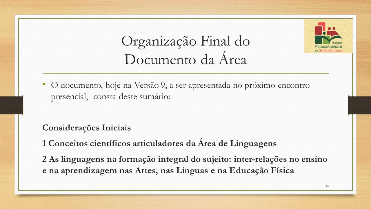 Organização Final do Documento da Área