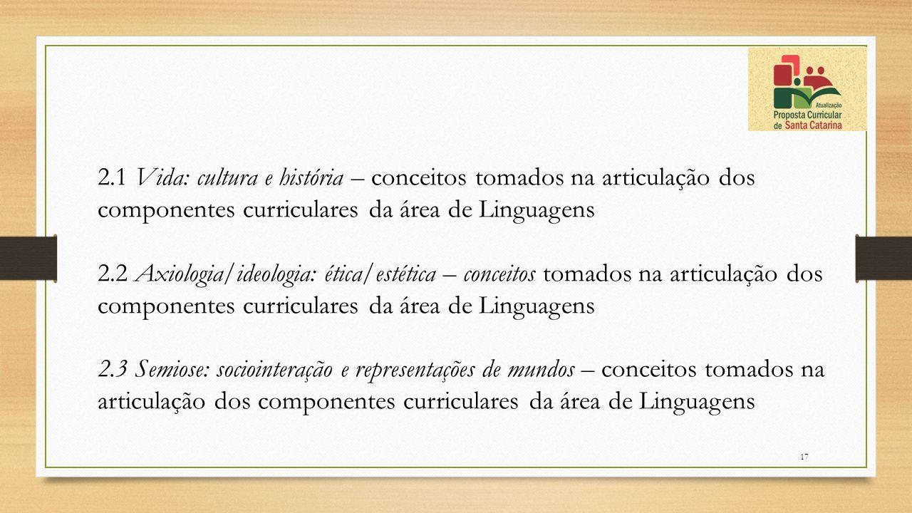 2.1 Vida: cultura e história – conceitos tomados na articulação dos componentes curriculares da área de Linguagens
