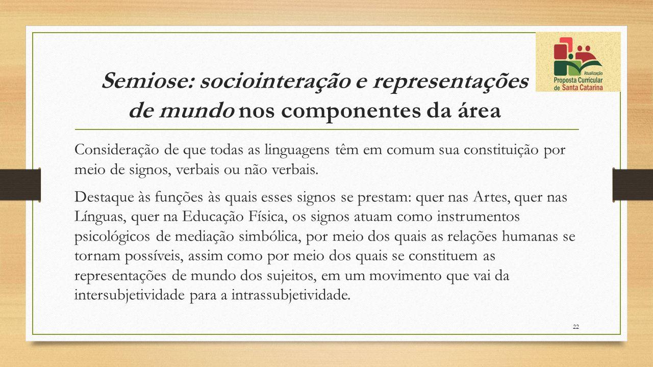 Semiose: sociointeração e representações de mundo nos componentes da área