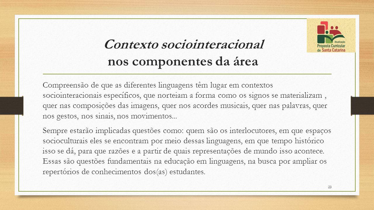 Contexto sociointeracional nos componentes da área