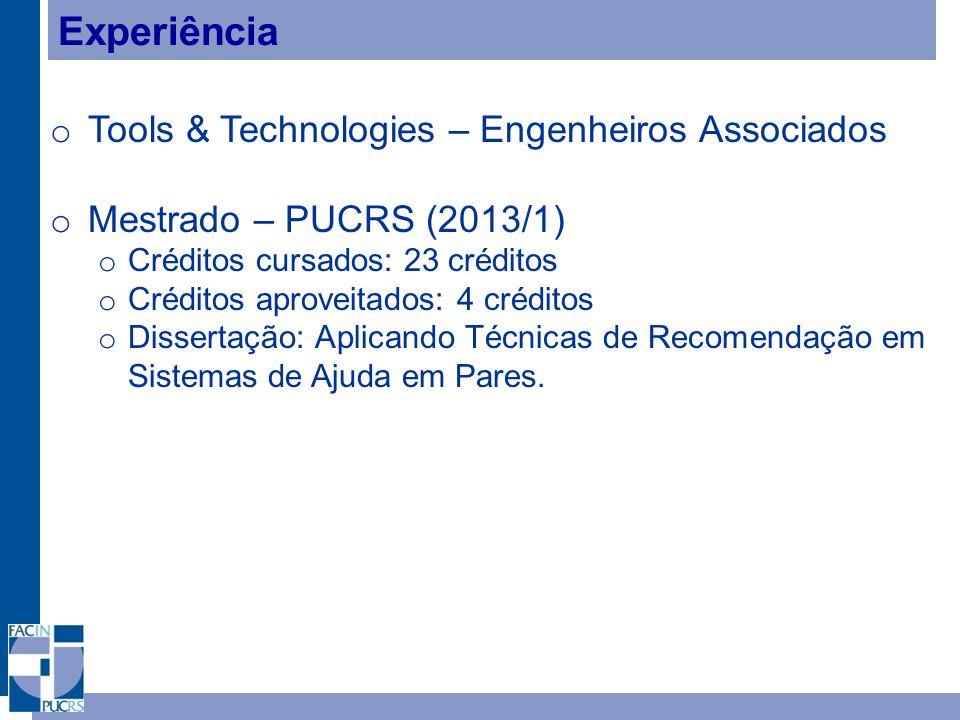 Experiência Tools & Technologies – Engenheiros Associados