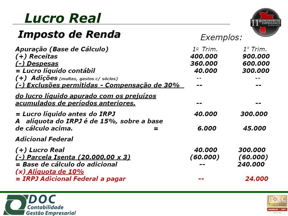 Lucro Real Imposto de Renda Exemplos: