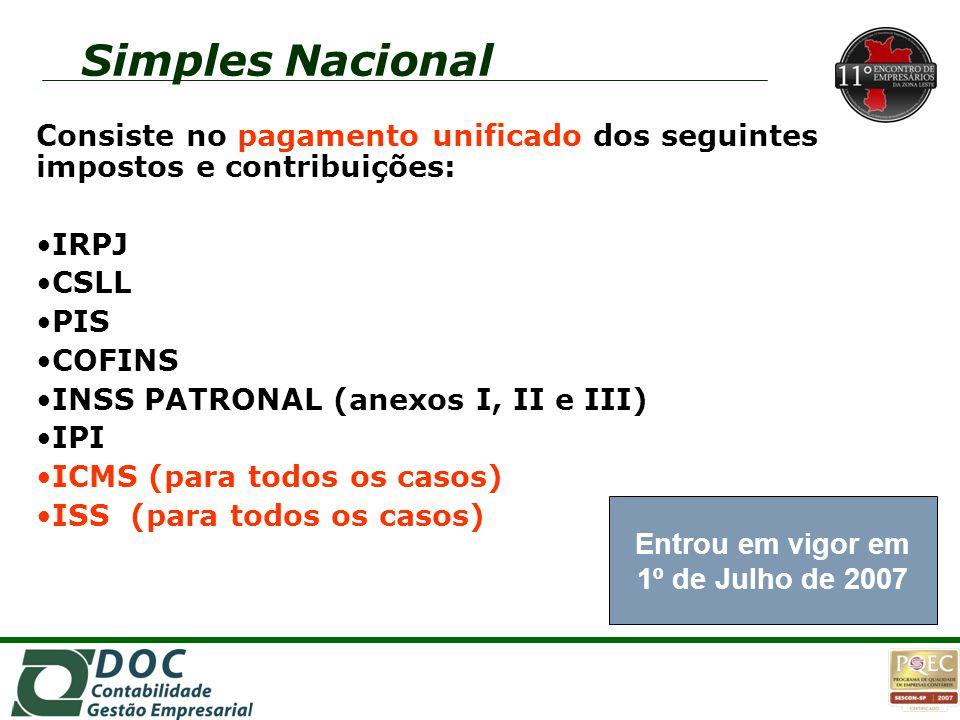 Simples Nacional Consiste no pagamento unificado dos seguintes impostos e contribuições: IRPJ. CSLL.