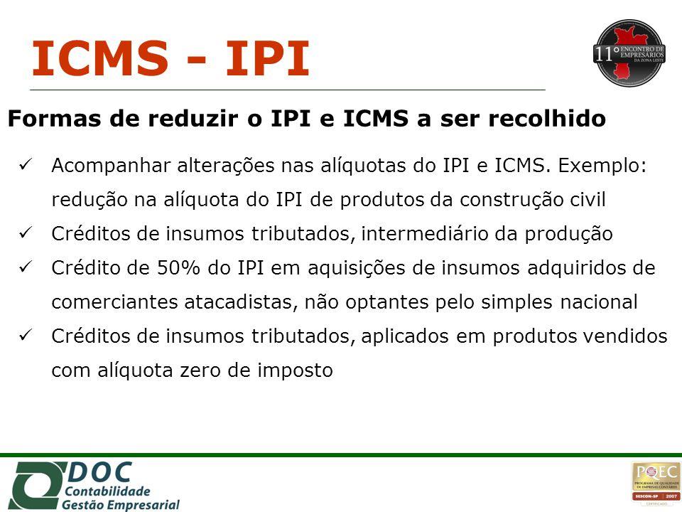 ICMS - IPI Formas de reduzir o IPI e ICMS a ser recolhido