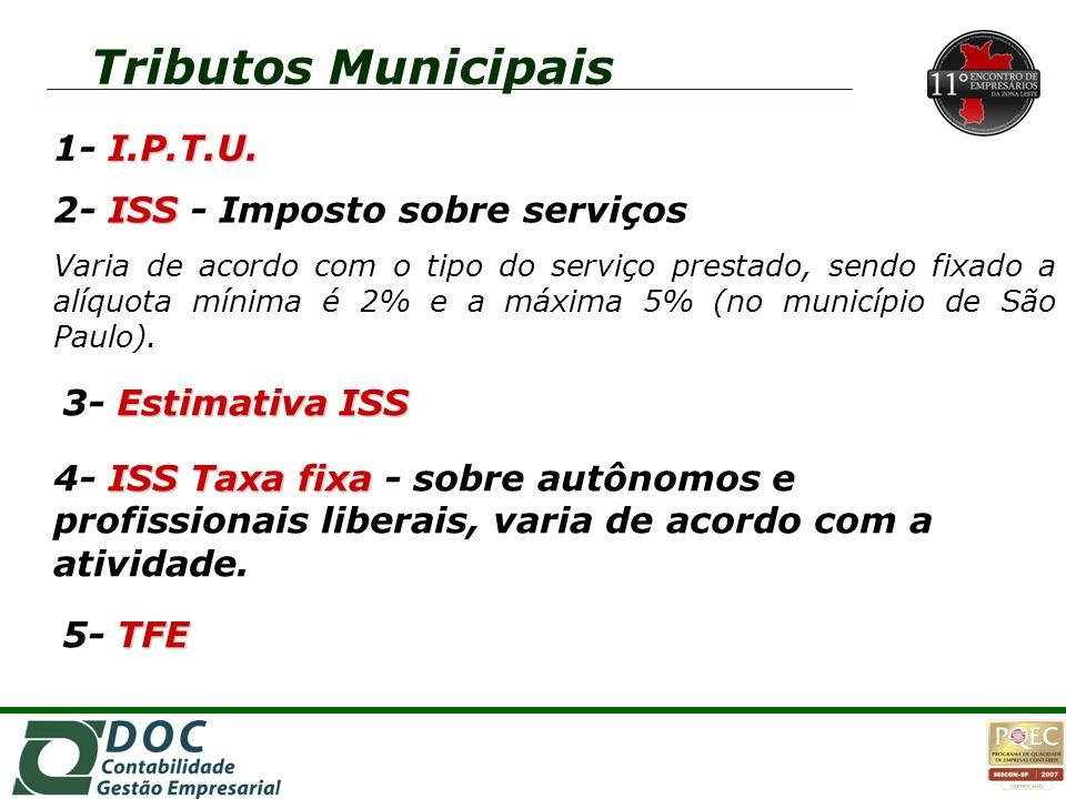 Tributos Municipais 1o 1- I.P.T.U. 2- ISS - Imposto sobre serviços