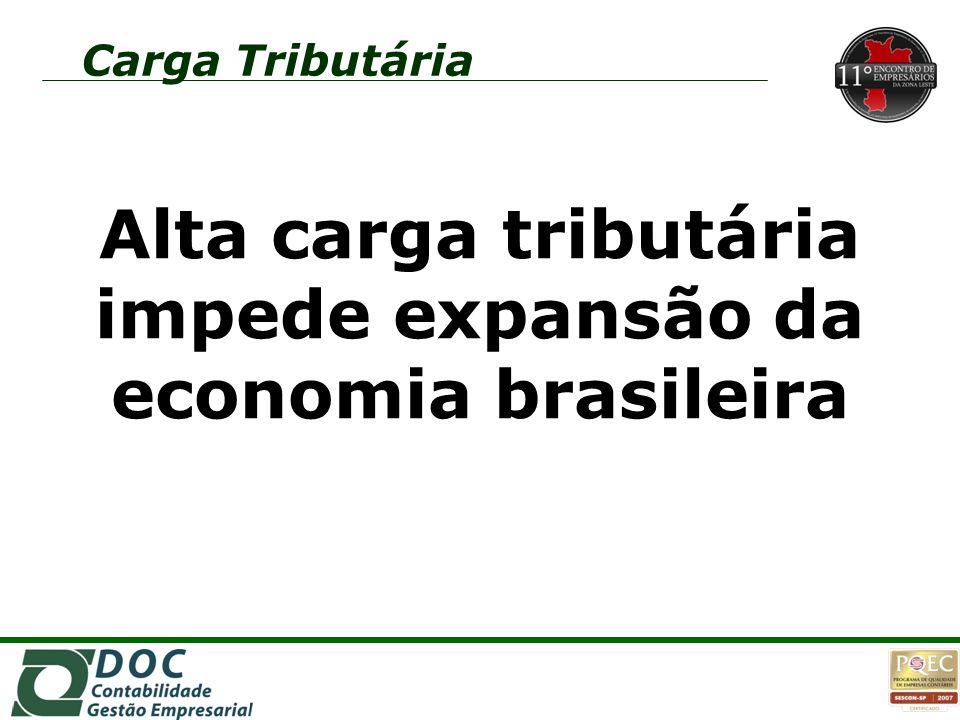 Alta carga tributária impede expansão da economia brasileira