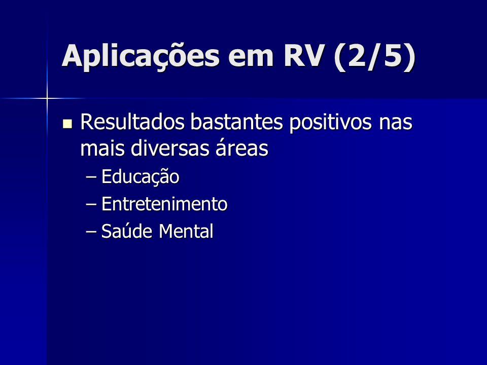 Aplicações em RV (2/5) Resultados bastantes positivos nas mais diversas áreas. Educação. Entretenimento.