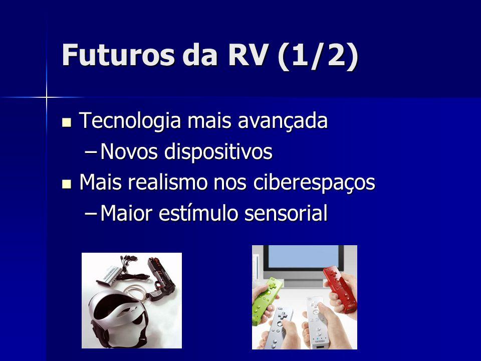 Futuros da RV (1/2) Tecnologia mais avançada Novos dispositivos