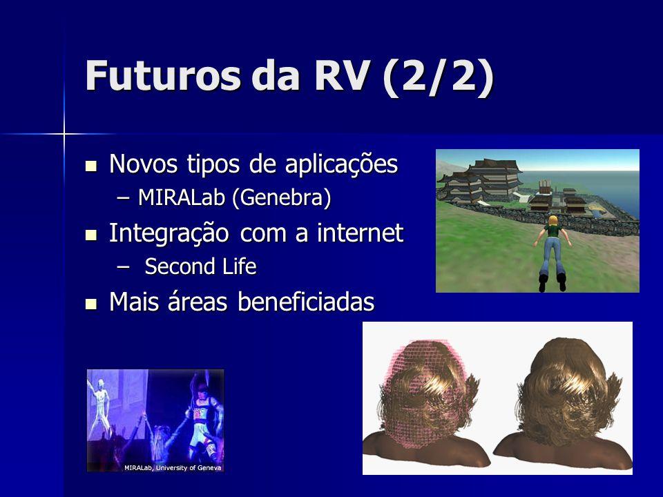 Futuros da RV (2/2) Novos tipos de aplicações