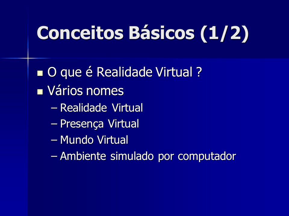 Conceitos Básicos (1/2) O que é Realidade Virtual Vários nomes