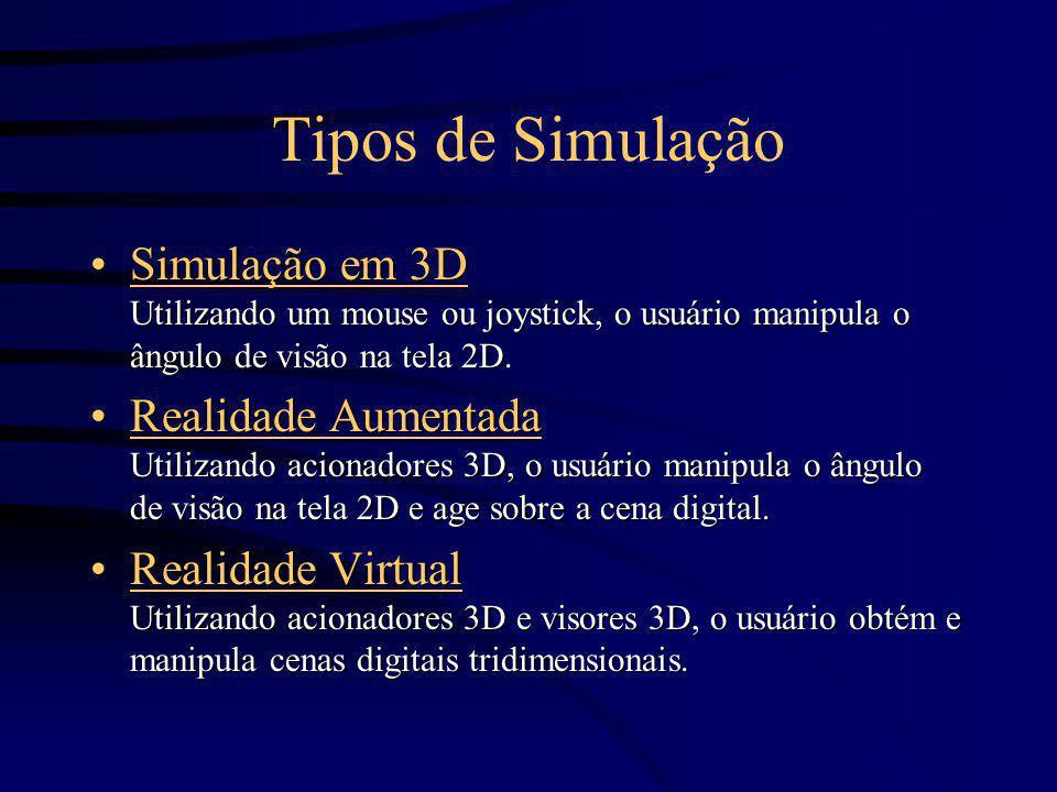 Tipos de Simulação Simulação em 3D Utilizando um mouse ou joystick, o usuário manipula o ângulo de visão na tela 2D.