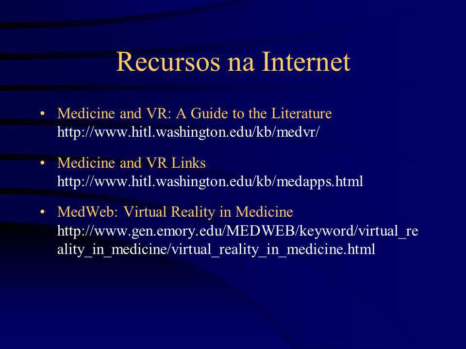 Recursos na Internet Medicine and VR: A Guide to the Literature http://www.hitl.washington.edu/kb/medvr/