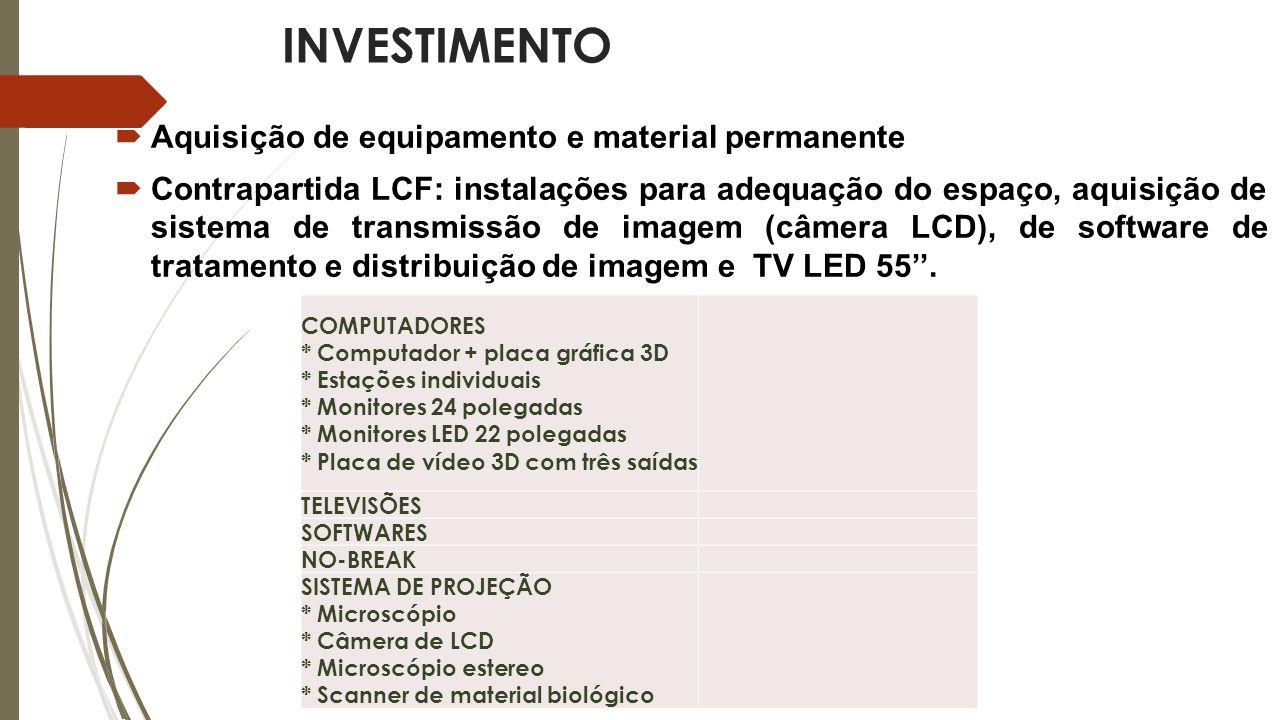 INVESTIMENTO Aquisição de equipamento e material permanente