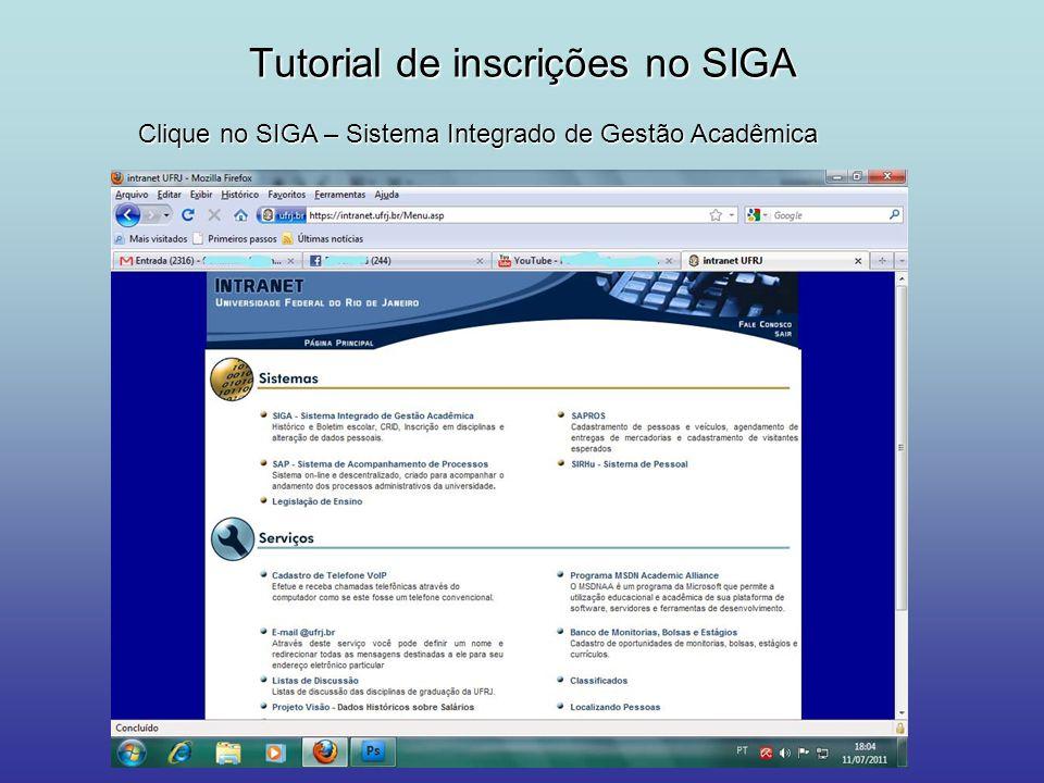 Tutorial de inscrições no SIGA