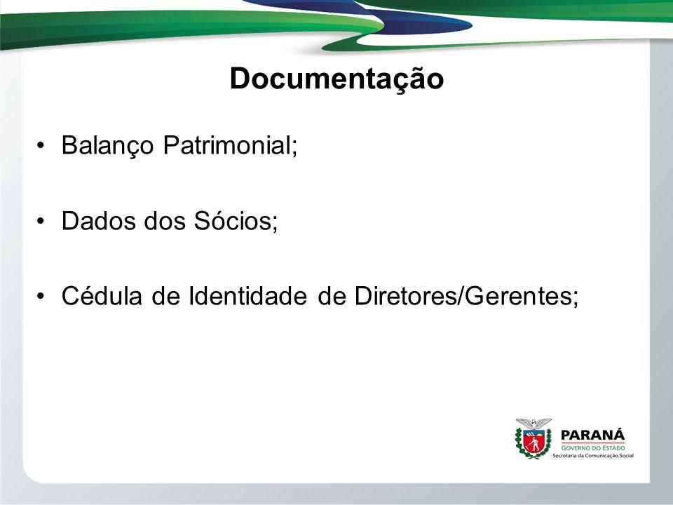 Documentação Balanço Patrimonial; Dados dos Sócios;