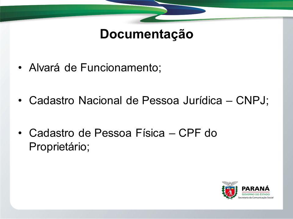 Documentação Alvará de Funcionamento;