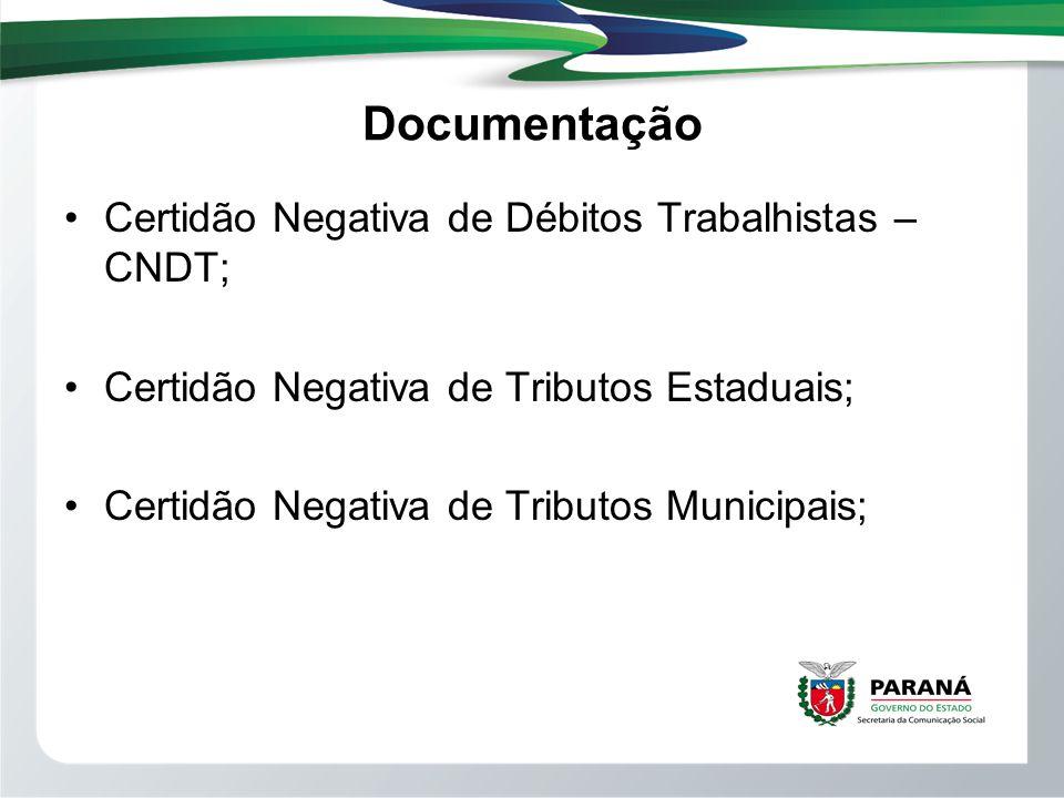 Documentação Certidão Negativa de Débitos Trabalhistas – CNDT;