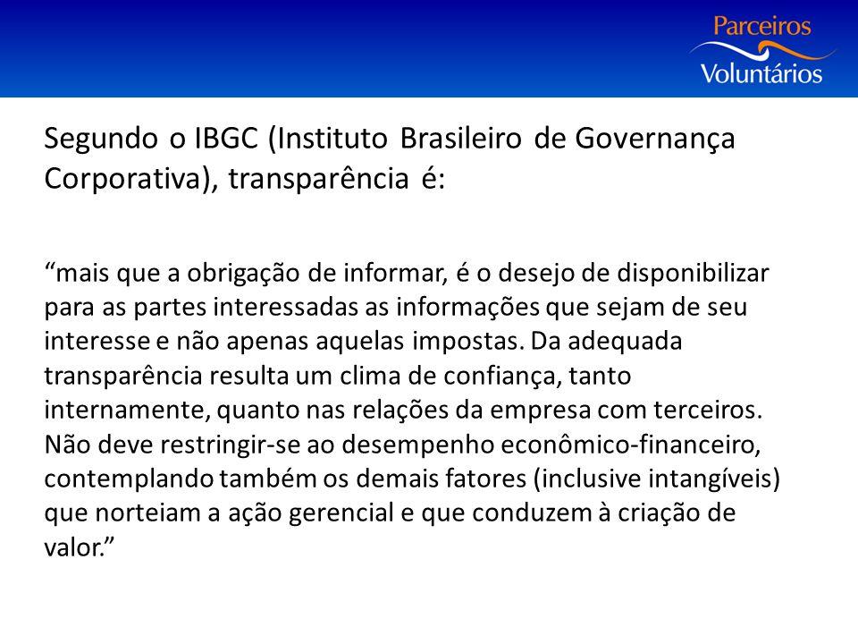 Segundo o IBGC (Instituto Brasileiro de Governança Corporativa), transparência é: